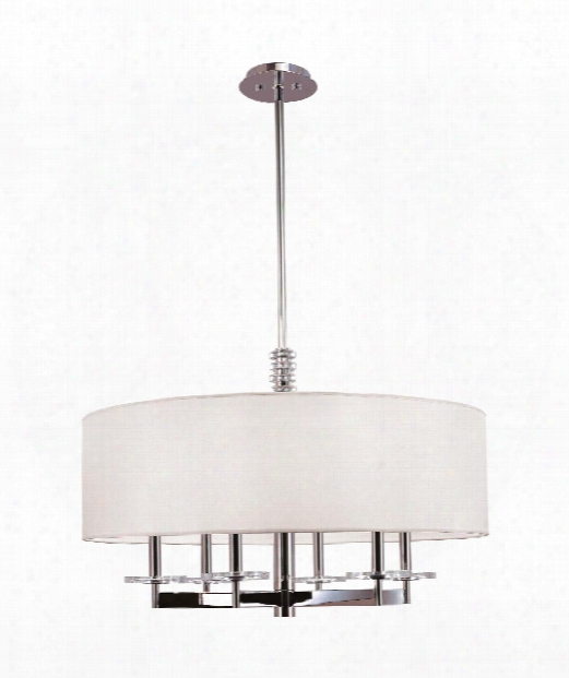 "Chelsea 30"" 6 Light Chandelier In Polished Nickel"