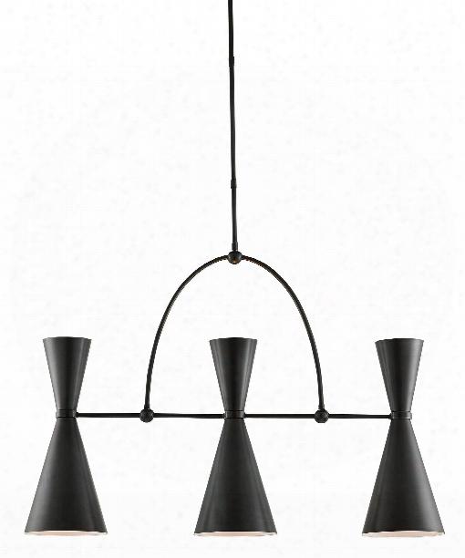 "Gino 40"" 6 Light Island Light In Black-white Interior"