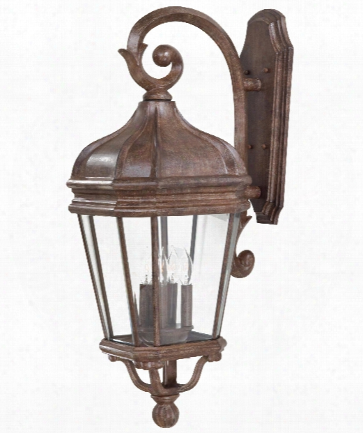"Harrison 12"" 4 Light Outdoor Outdoor Wall Light In Vintage Rust"