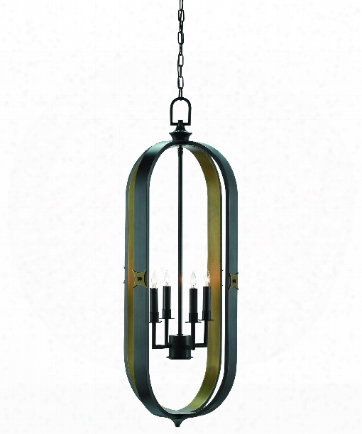 "Huntsman 17"" 4 Light Foyer Pendant In Satin Black-antique Brass"