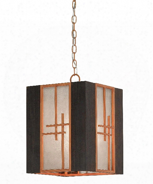 "Kiyamacki 12"" 1 Light Large Pendant In Hiroshi Wood-dark Burnt Cedar"