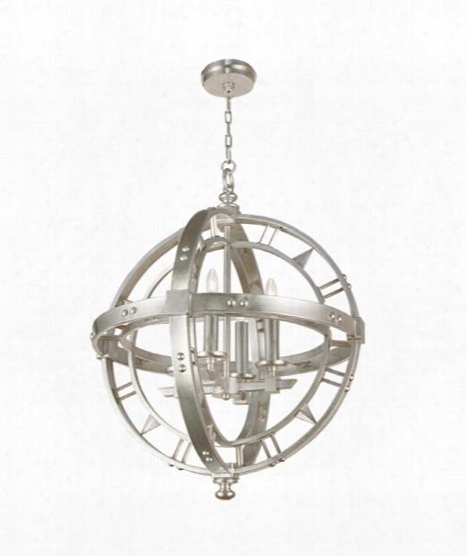 "Liaison 26"" 4 Light Chandelier In Platinized Silver Leaf"