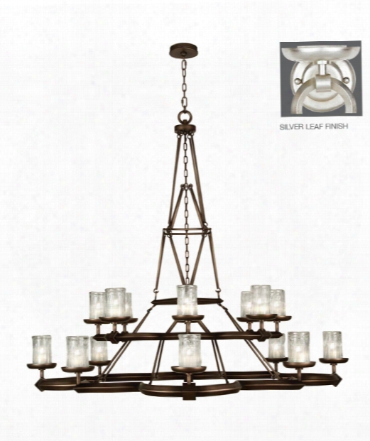 "Liaison 58"" 16 Light Chandelier In Platinized Silver Leaf"