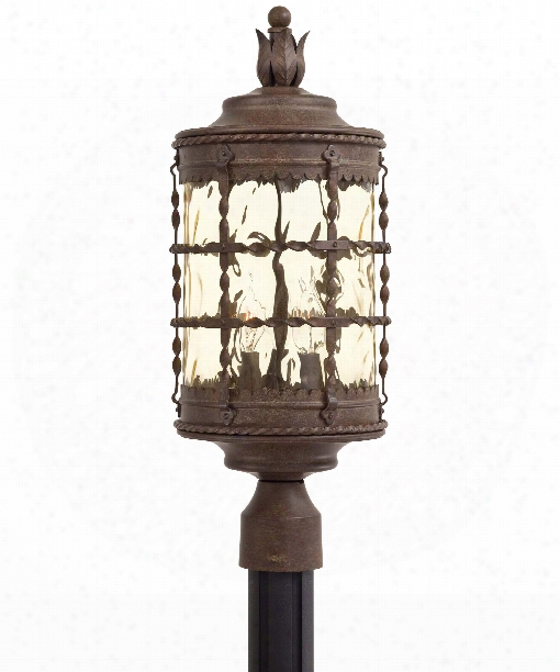 "Mallorca 9"" 3 Light Outdoor Outdoor Post Lamp In Vintage Rust"
