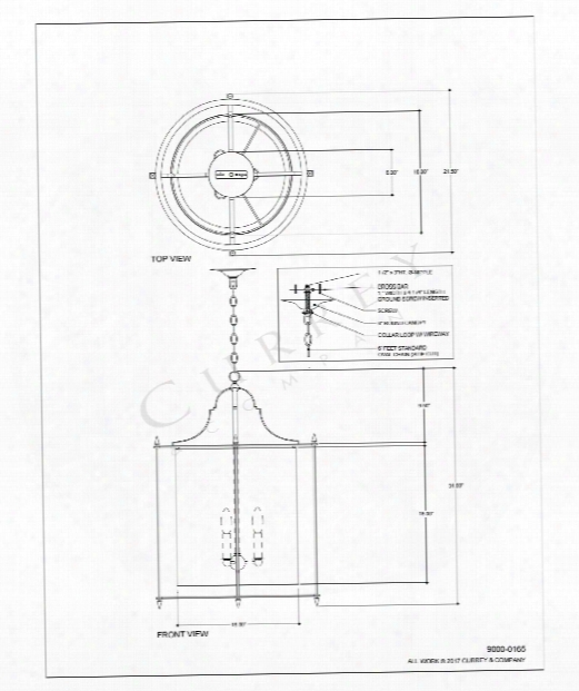 "Miller 22"" 3 Light Foyer Pendant In Polished Nickel"