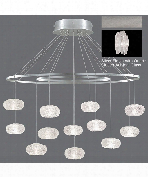 """Natural Inspirations 34"""" 12 Light Large Pendant In Platinized Silver Leaf"""