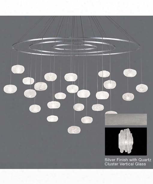 """Natural Inspirations 55"""" 24 Light Large Pendant In Platinized Silver Leaf"""