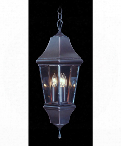 "Normandy 10"" 3 Light Outdoor Hanging Lantern In Brushed Nickel"