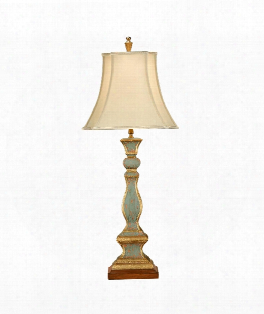 Old Worn Candlestick 1 Light Table Lamp In Tuscan Aged Paint With Gold