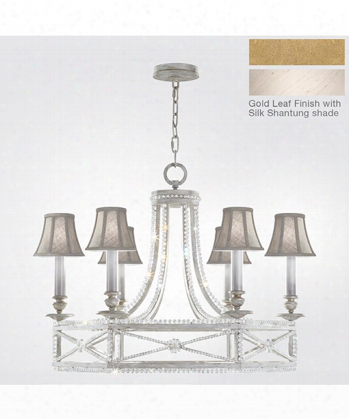 "Prussian Neoclassic 31"" 6 Light Chandelier In Brandenburg Gold Leaf"