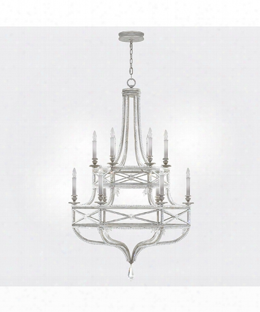 """Prussian Neoclassic 37"""" 12 Light  Chandelier In Prussian Silver Gray"""