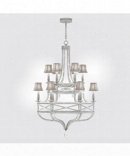 """Prussian Neoclassic 39"""" 12 Light Chandelier In Prussian Silver Gray"""