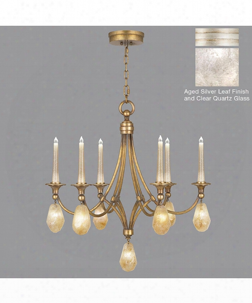 """Quartz And Iron 30"""" Led 1 Light Chandelier In Aged Silver Leaf"""