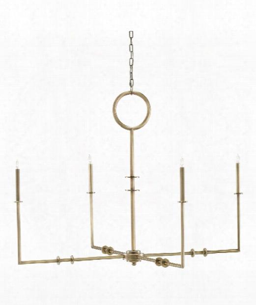 "Rogue 49"" 4 Light Chandelier In Antique Brass"