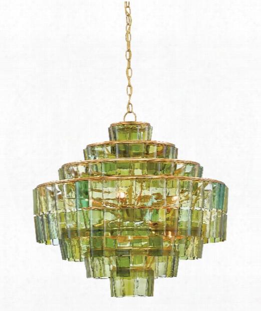 "Sommelier 27"" 8 Light Large Pendant In Dark Contemporary Gold Leaf-green"