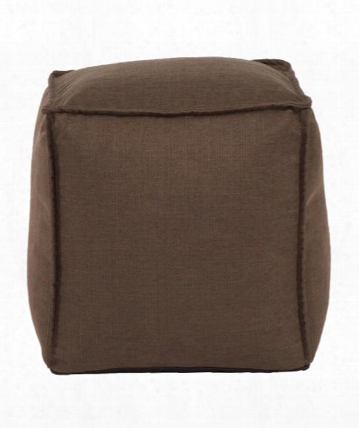 """Square Pouf 20"""" Ottoman In Brown"""
