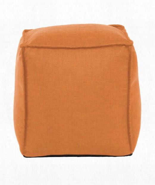 """Square Pouf 20"""" Ottoman In Orange"""