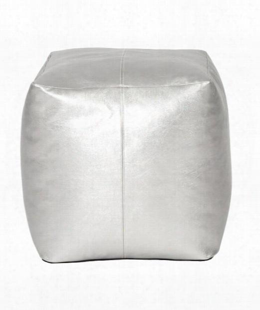 """Square Pouf 20"""" Ottoman In Silver"""