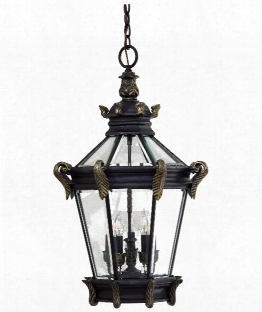 """Stratford Hall 19"""" 5 Light Outdoor Hanging Lantern In Heritage With Gold"""