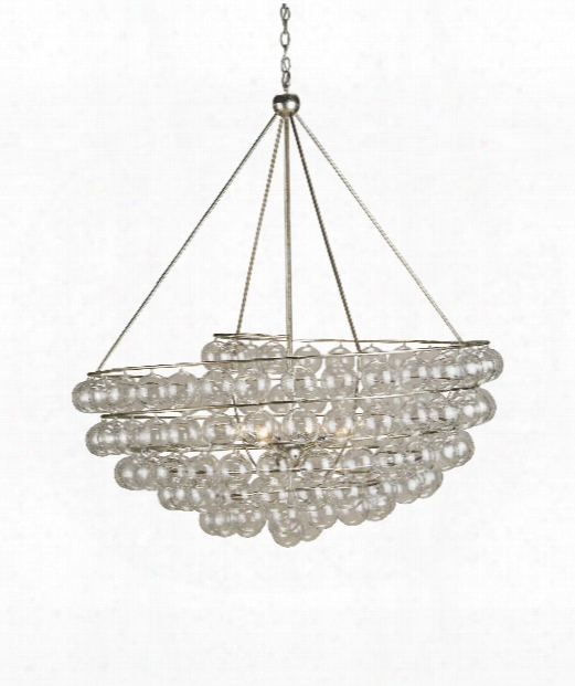 """Stratosphere 46"""" 4 Light Large Pendant In Contemporary Silver Leaf"""