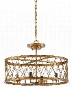"Crisscross 22"" 4 Light Large Pendant in Gold Leaf"