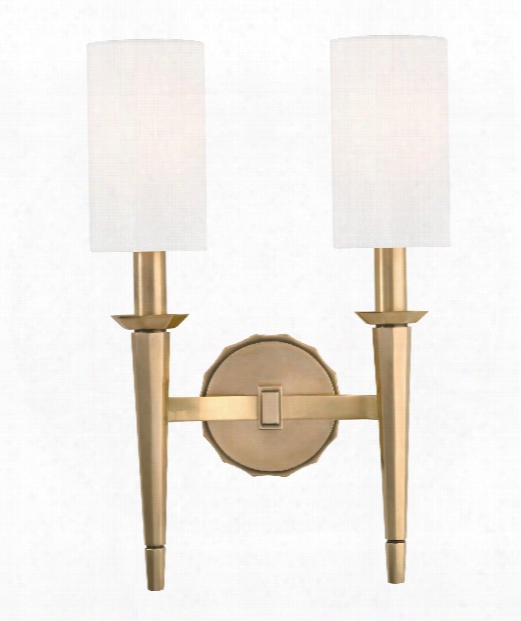 "Tioga 11"" 2 Light Wall Sconce In Aged Brass"