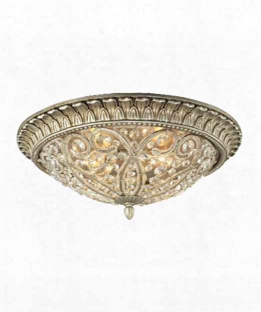 "Andalusia 10"" 4 Light Flush Mount In Aged Silver"
