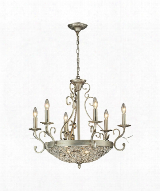 "Andalusia 19"" 9 Light Mini Chandelier In Aged Silver"