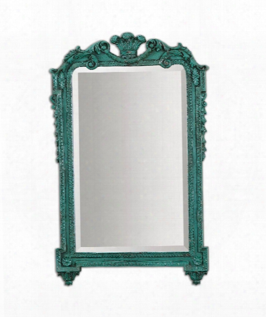 "Andreina 20"" Wall Mirror In Antiqued Turquoise"