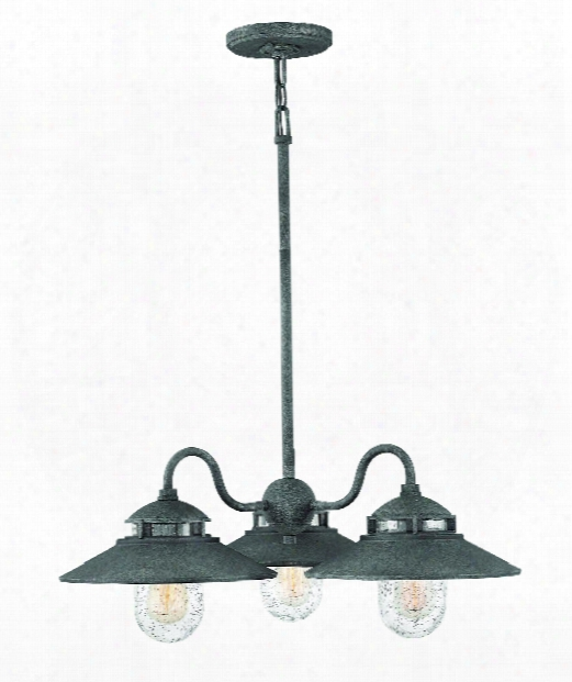 "Atwell 24"" 3 Light Outdoor Hanging Lantern In Aged Zinc"