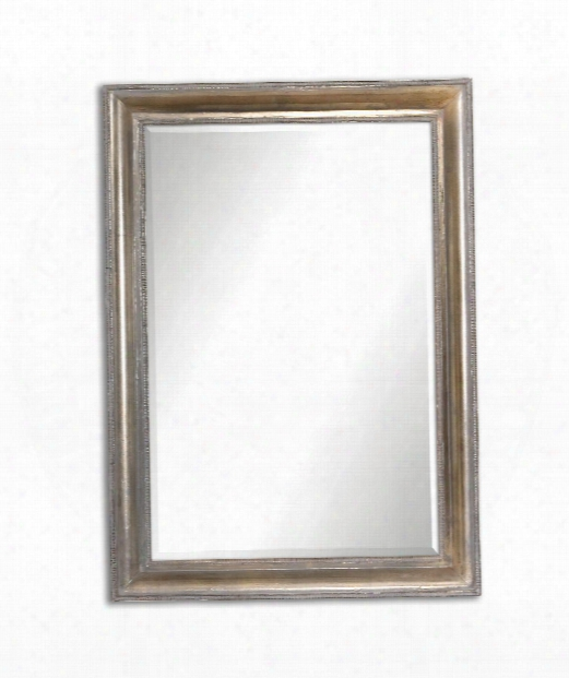 """Avelina 25"""" Wall Mirror In Oxidized Plated Silver Accented With A Light Gray Glaze"""