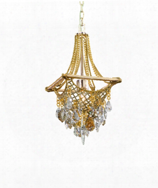 """Barcelona 11"""" 1 Light Mini Pendant In Silver And Gold Leaf"""