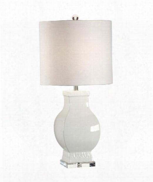 Bordered Urn Lamp 1 Light Table Lamp In Art Glazed Euroceramic