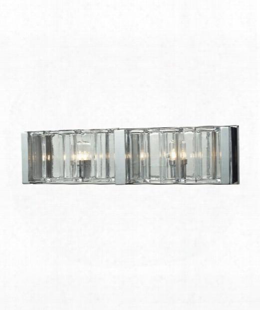 "Corrugated Glass 20"" 2 Light Bath Vanity Liht In Polished Chrome"