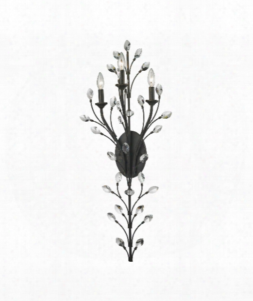 """Crystal Branches 15"""" 3 Light Wa1l Sconce In Burnt Bronze"""