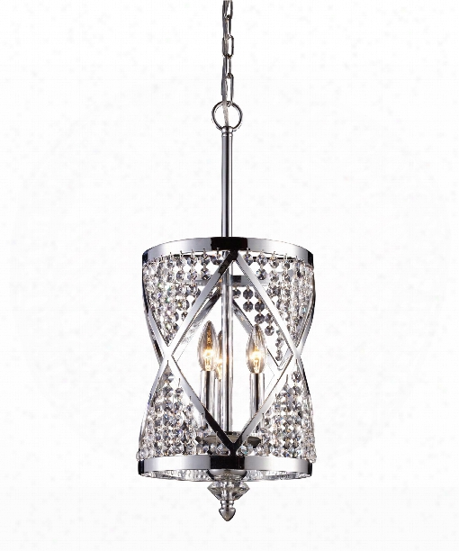 "Crystoria 10"" 3 Light Foyer Pendant In Polished Chrome"