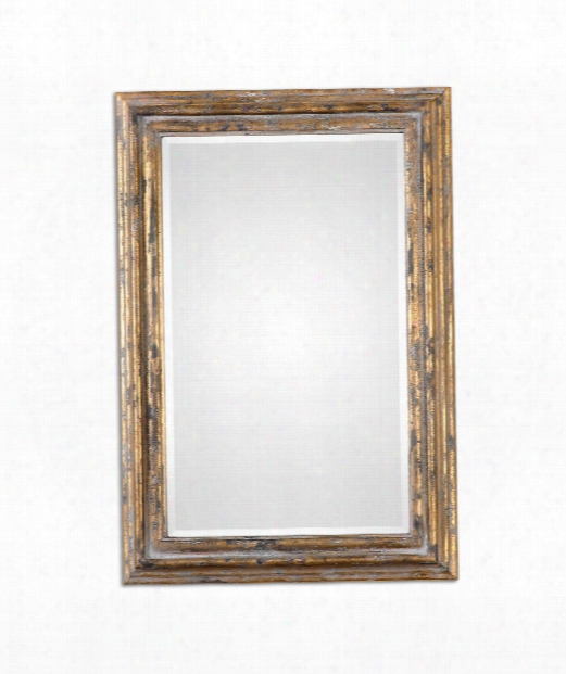 """Davagna 28"""" Wall Mirror In Antiqued Gold"""