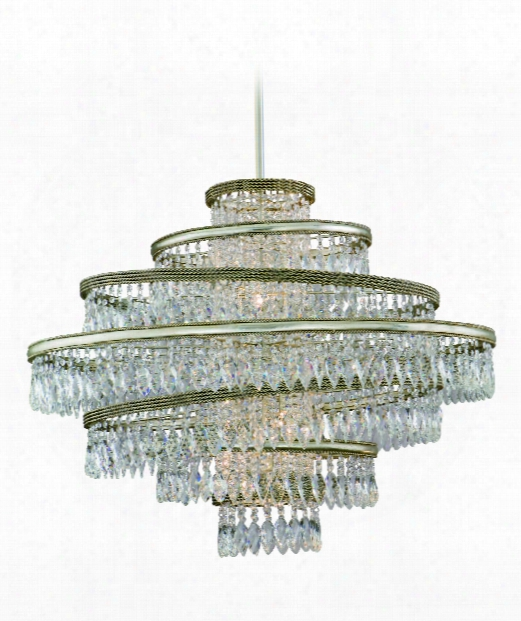 "Diva 42"" 7 Light Large Pendant In Silver Leaf With Gold Leaf Accent"