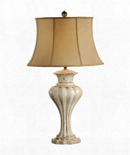 Graceful Urn 1 Light Table Lamp In Old Worn White Paint