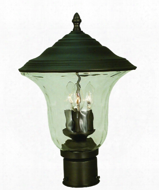 "Hartford 11"" 3 Light Outdoor Outdoor Post Lamp In Iron"