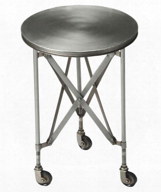 "Industrial Chic 16"" Accent Table In Silver"