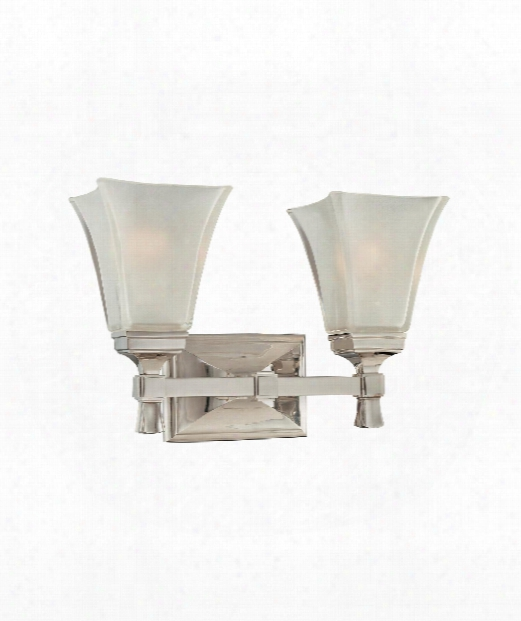 "Kirkland 15"" 2 Light Bath Vanity Light In Polished Nickel"