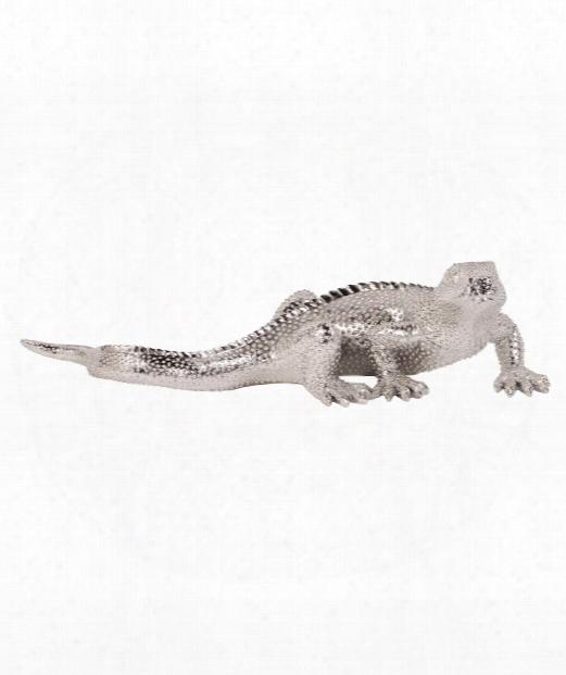 """Lizard 34"""" Figurine In Metallic Nickel"""