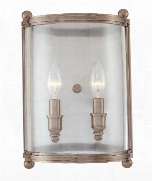 "Mansfield 9"" 2 Light Bath Vanity Light In Antique Nickel"
