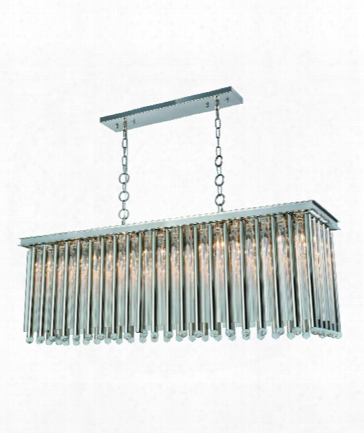 "Maxwell 14"" 10 Light Island Light In Polished Nickel"