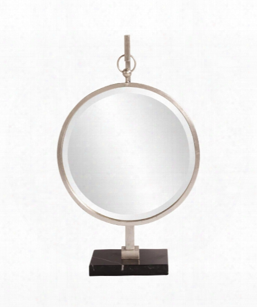 "Medallion 18"" Wall Mirror In Silver And Black"