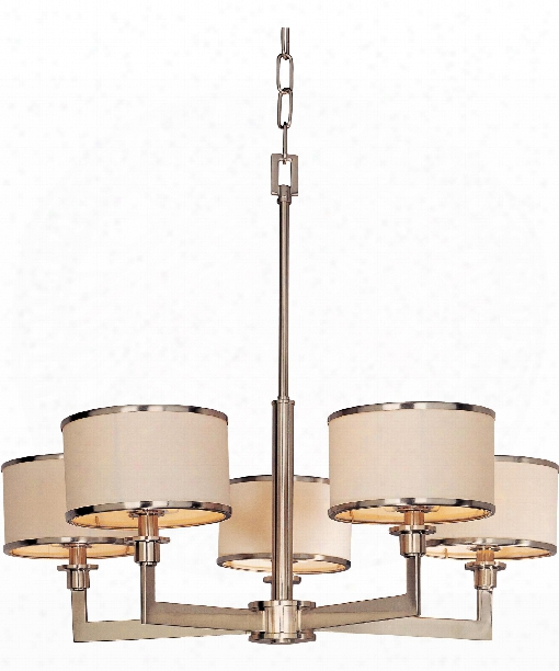 "Nexus 28"" 5 Light Chandelier In Satin Nickel"