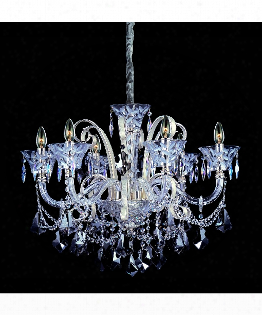Pachelbel 6 Light Chandelier In Two-rone Silver