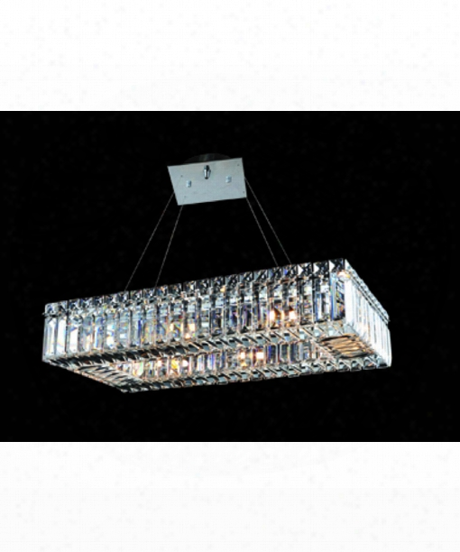 "Quantum Baguette 22"" 8 Light Large Pendant In Polished Chrome"