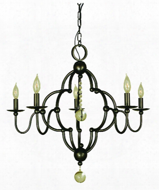 "Quatrefoil 28"" 5 Light Chandelier In Antique Brass"